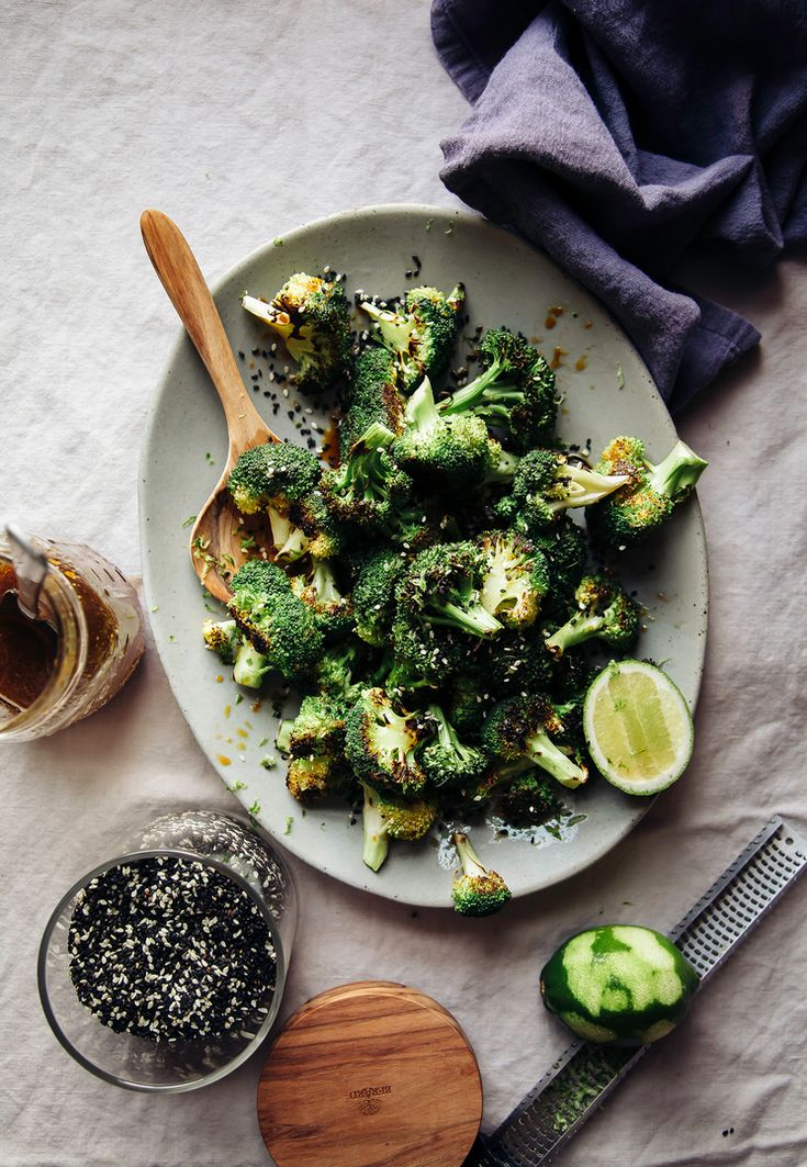 """Charred Broccoli with Ginger Sesame Sauce from """"Dishing Up the Dirt"""" /"""