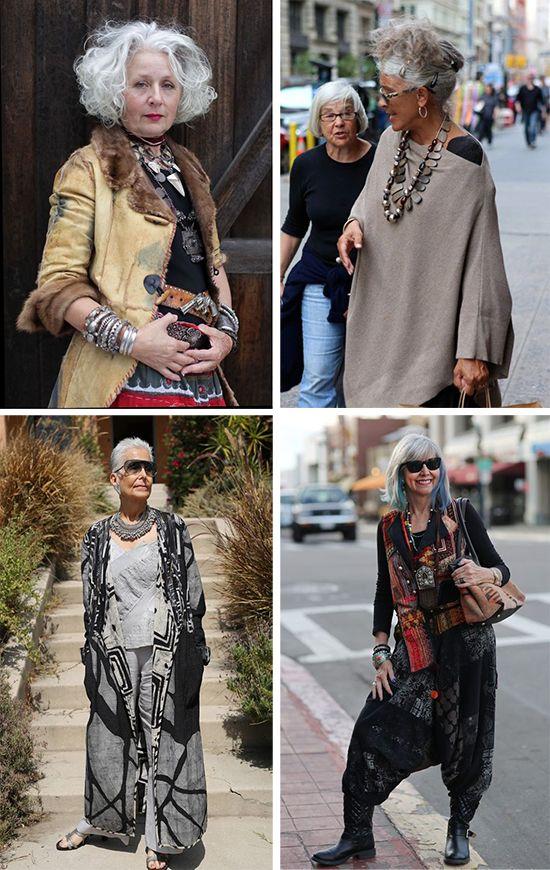 Эффектные образы для пожилых дам в богемном стиле