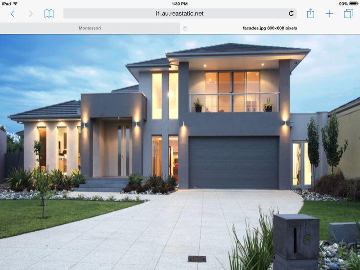 Bluestone modern house exterior with balcony t like door entry