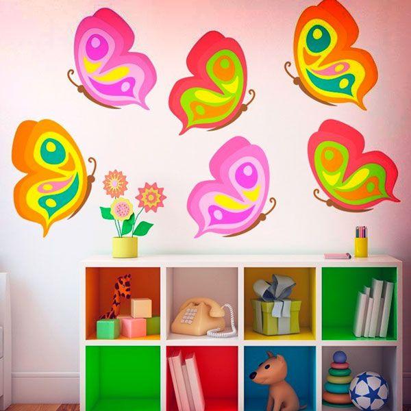 Stickers pour enfants: Kit 6 papillons. Kit Stickers pour enfants. #stickersmuraux #decoration #motifs #mosaïque #papillons #multicouleur #WebStickersMuraux