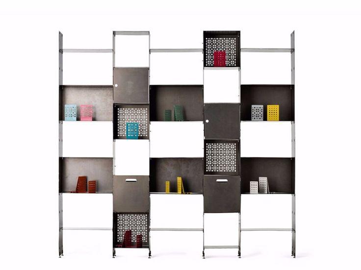 Librería composable de chapa PRIMA by Officine Tamborrino diseño Licio Tamborrino