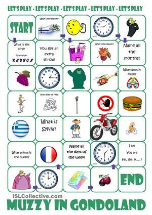 Use this board game for revision of vocabulary learnt or use it to differentiate your work in class. If you like this ws you might want to get some of my other Muzzy wss. Check my profile for more. - ESL worksheets