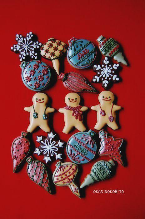 クリスマスミニオーナメントのアイシングクッキー | アイシングクッキーおかしのこびとのブログ