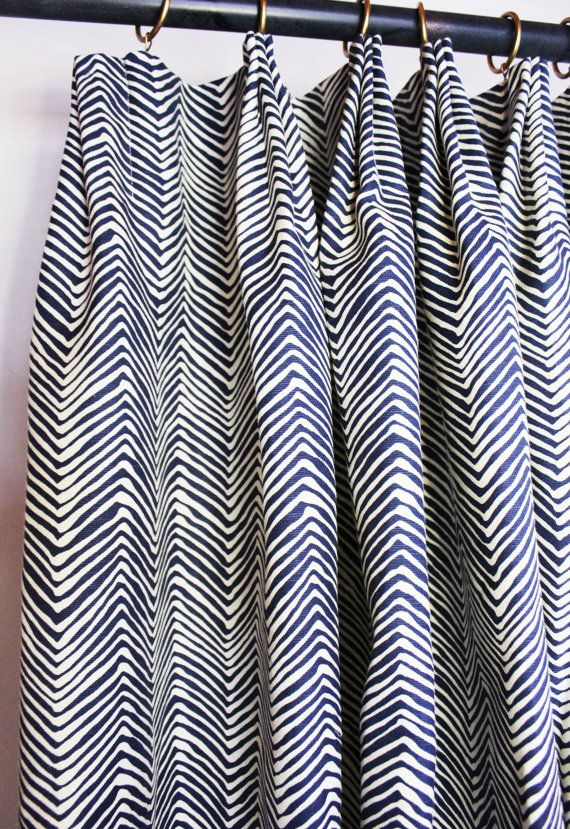 Quadrille Alan Campbell Petite Zig Zag Custom Drapes - (Shown in Navy on Tint with Fan Pleating-comes in 15 colors)