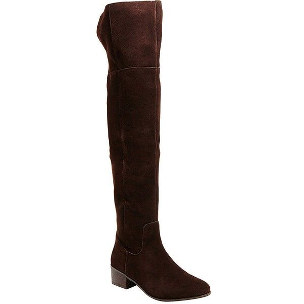 Steve Madden Tyga Suede Over-the-Knee Boots (€135) ❤ liked on Polyvore featuring shoes, boots, brown, thigh boots, over the knee suede boots, thigh high boots, brown suede boots and round chimney cap