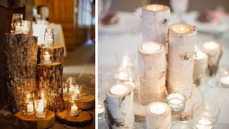 50 id es d co pour un mariage d hiver mariage photos et - Rondin de bois centre de table ...