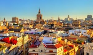 Aerial view of the old town in Valencia from Serranos