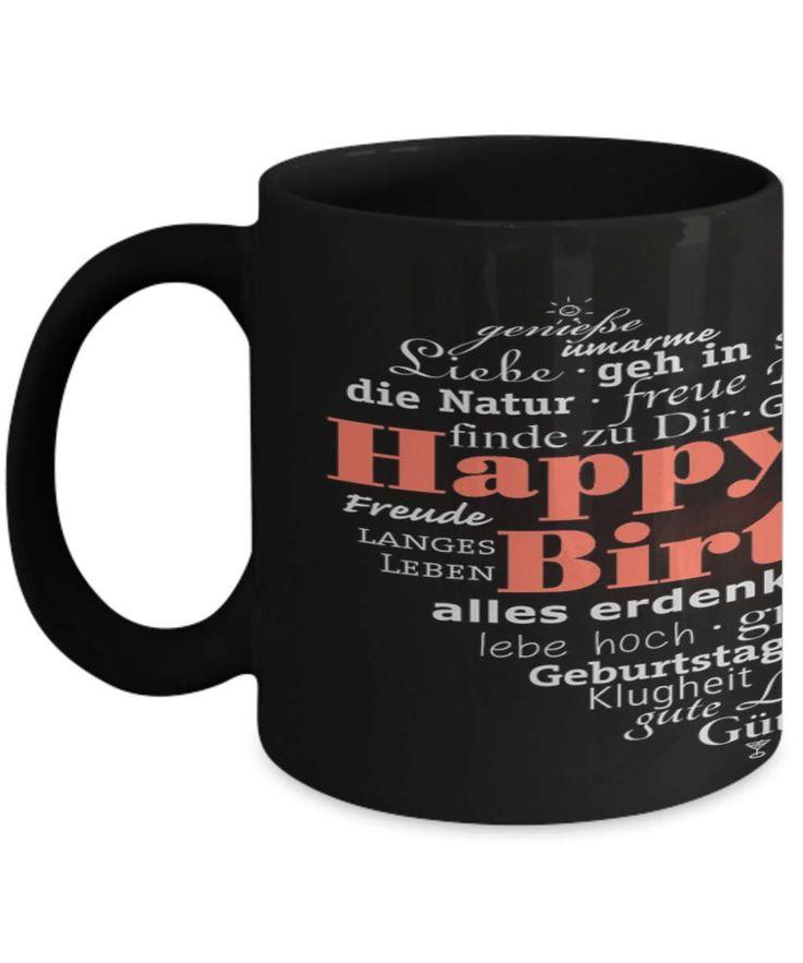 Happy Birthday Coffee Mug, Happy Birthday Mug, Birthday Coffee Mug, Fireworks Mug, Birthday Mug in Different Languages, Great Birthday Gift by BearHugBoutique on Etsy