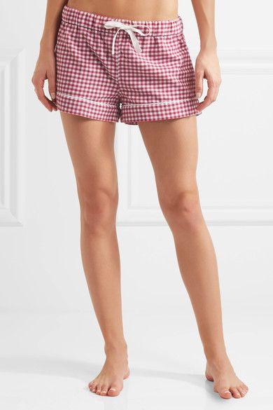 Three J NYC - Phoebe Checked Cotton-flannel Pajama Set - Plum - x large