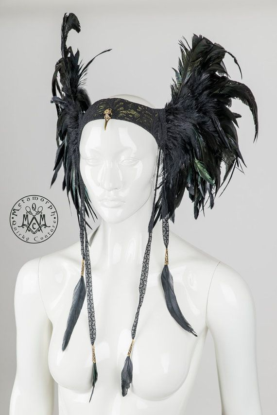Feather headdress Black wings Valkyrie headpiece with lace feather tassels Edgy fashion Burning man Dark fusion LARP cosplay headgear
