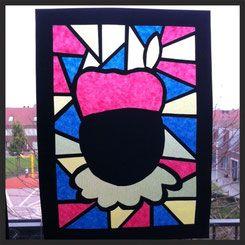 Zwarte Piet 'glas in lood' - Knutselboom!