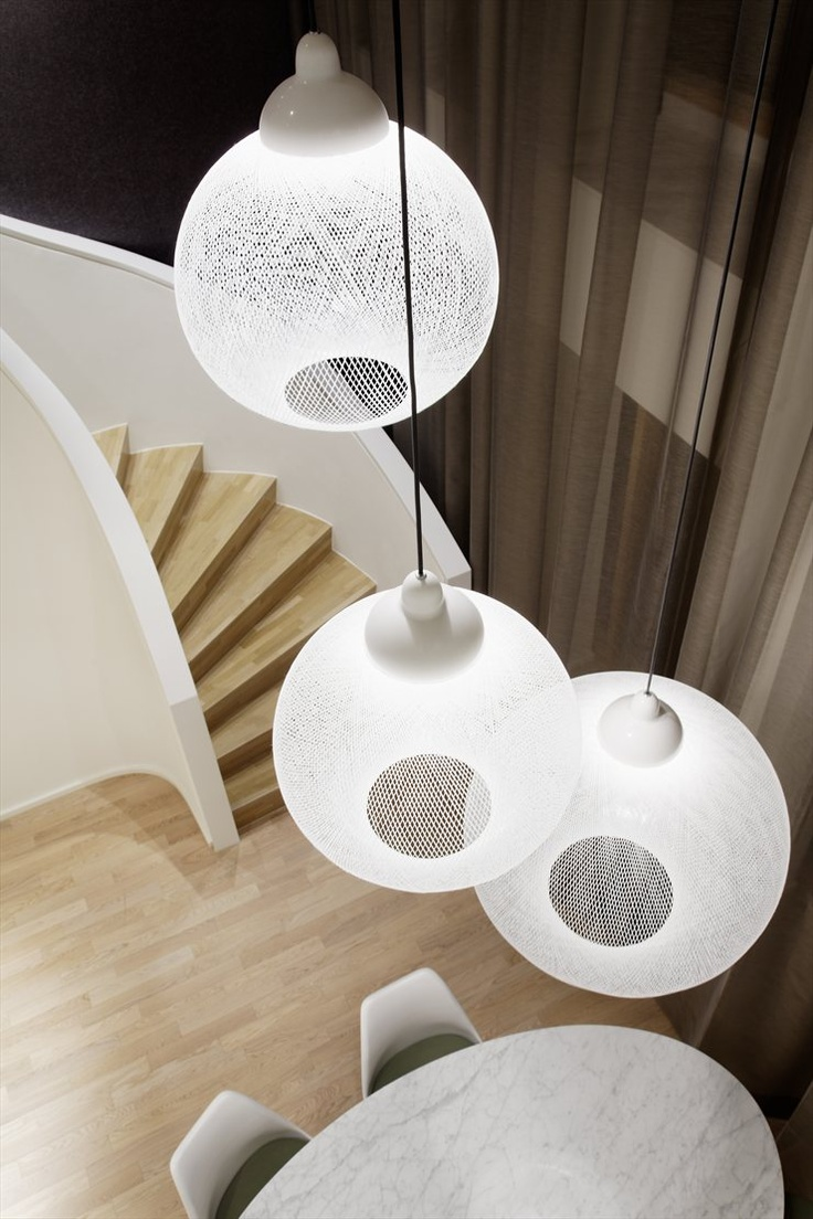 Moooi hang light pendant lamp by marcel wanders stardust - Staircase Design From Quant 1 Apartment In Stuttgart Designed By Ippolito Fleitz Group For Single Women