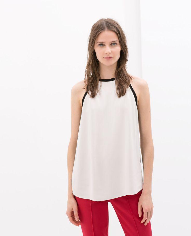Image 1 of HALTER-NECK TOP WITH CONTRAST PIPING from Zara