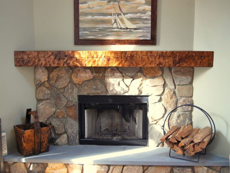 Fireplace: Rustic Stone Corner Fireplace Mantel Kits Nature Canvas Painting, Artistic Wall Mural, Coffee Table, ~ STEPINIT