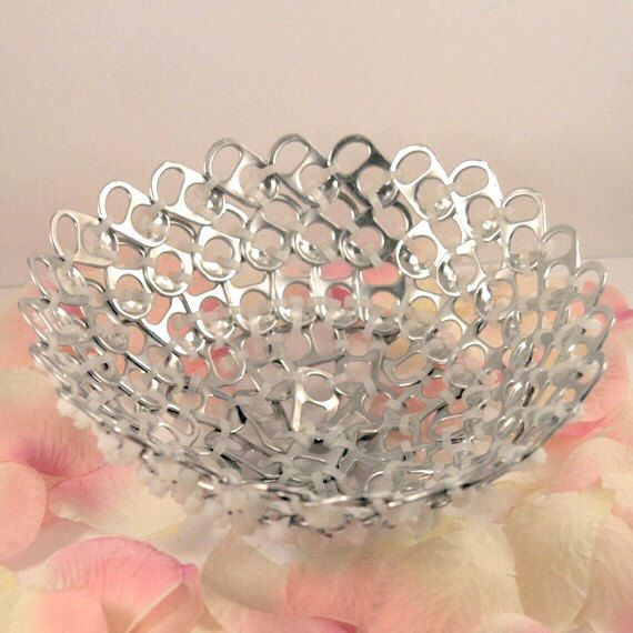 recycled basket pop tabs and cut white zip ties eco by tabsolute