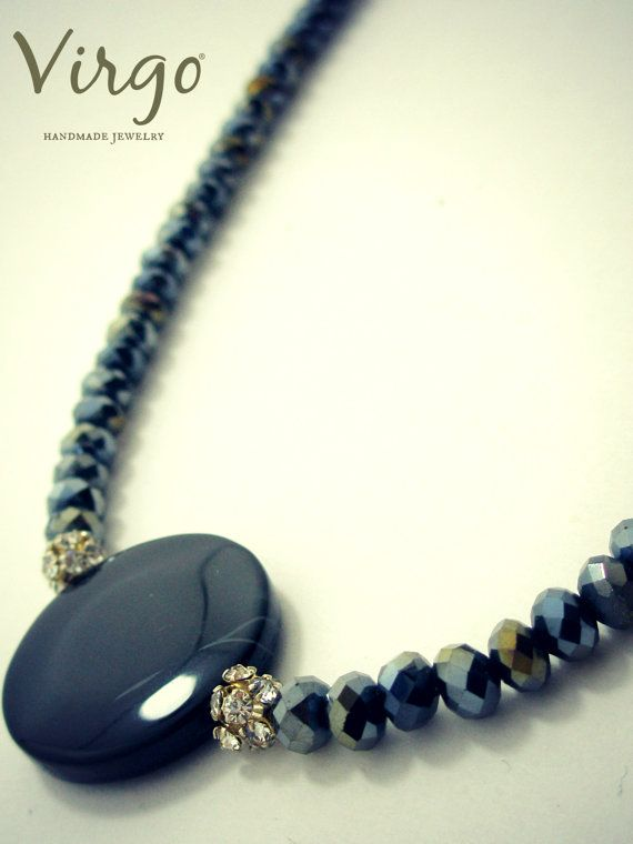 Handmade Onyx Element Crystal Beads Swarovski Strass and Silver 925 Clasp Necklace.  Size: approx. 42cm  We can resize for you, all of our jewelries, so feel free to ask!  Τhe necklace comes in a gift box!  Do you like this item? See more at: https://www.etsy.com/shop/VirgoHandmadeJewelry  Like us on Facebook:  https://www.facebook.com/VirgoHandmadeJewelry  or   follow us on Pinterest: www.pinterest.com/VirgoJewelry   Thanks for stopping by - Virginia