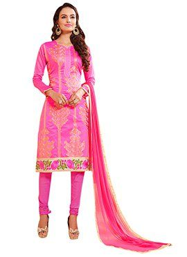 Fuchsia Pink Chanderi Cotton Churidar Suit
