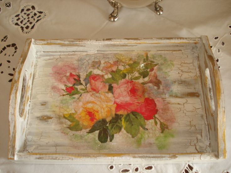 wooden tray,with method antique and decoupage