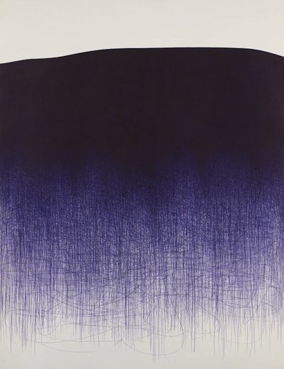 Korean born, Brooklyn based Il Lee is best known for his ballpoint pen abstract artworks on canvas which he has been doing for more than 30 years. It is stunning to think about the labor that goes into each of these larger pieces(8′ x 12′).