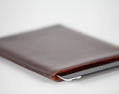 Saddle leather iPad Sleeve lined in Harris Tweed