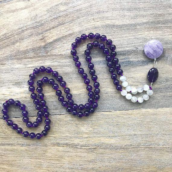 Amethyst and Moonstone 108 Bead Mala/Meditation Necklace