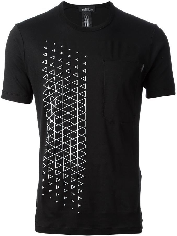 $138, Black and White Geometric Crew-neck T-shirt: Stone Island Shadow Project Geometric Print T Shirt. Sold by farfetch.com. Click for more info: http://lookastic.com/men/shop_items/127617/redirect