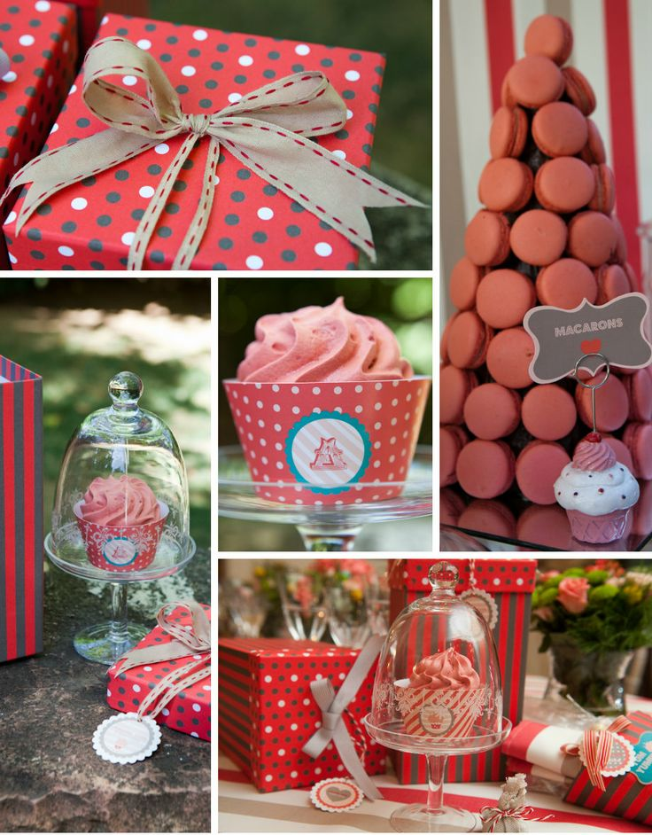 French Patisserie Christening Event @Am Villa In Ekali by De Plan V. Welcome dessert table, decoration details, white, red, cupcakes, macaroons, ribbons, present boxes.