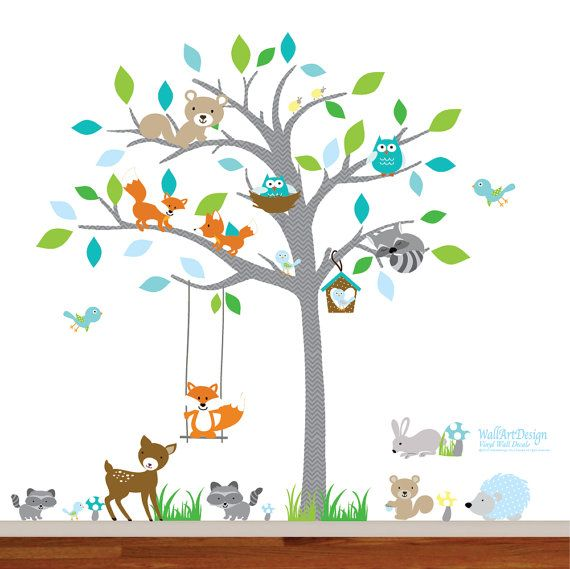 these playful little forest wall decals will bring a very cute scene to your wall - Baby Wall Designs