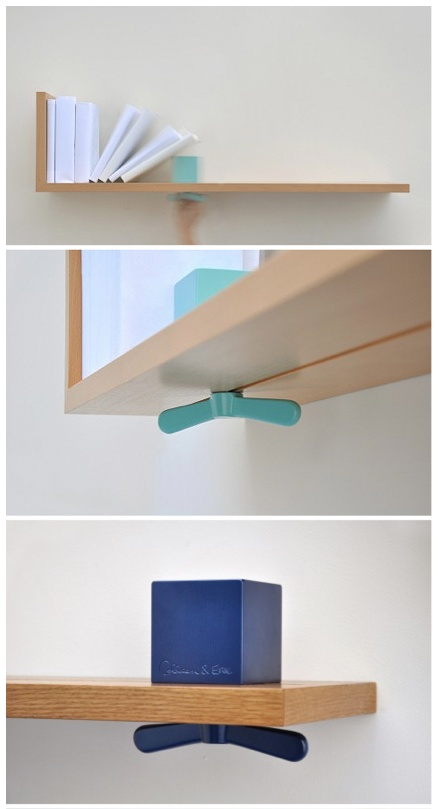 Designed by Colleen and Eric, Hold On Tight uses a colorful, oversized wing-nut to act as an adjustable bookend. very clever