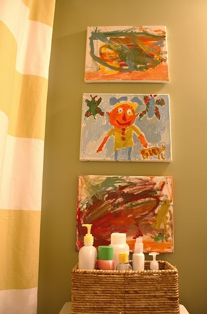 Can even display the children's art in the bathroom