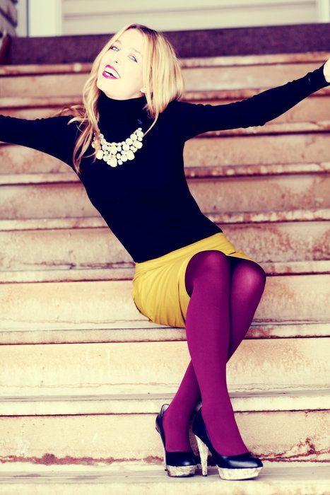 Like the color combo: colored tights (plum or purple) with yellow pencil