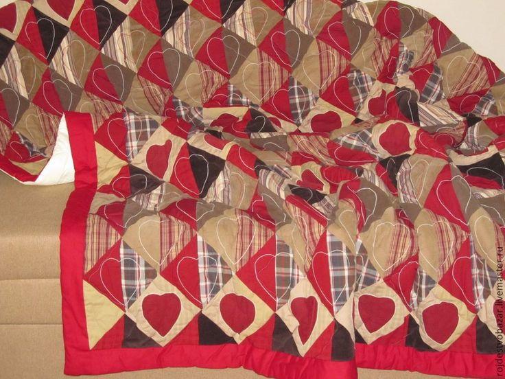 Купить Лоскутное покрывало с сердечками - лоскутное покрывало, пэчворк, бордовый, Квилтинг и пэчворк, подарки на годовщину