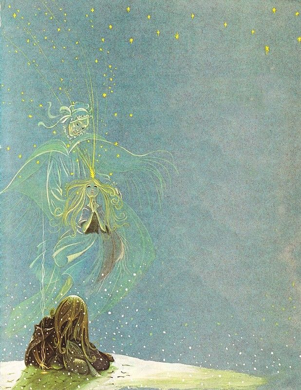 """Illustration by Janet and Anne Grahame Johnstone for """"The Little Match Girl"""", from 'A Book of Fairy Tales', published by Dean & Son Ltd. of London, 1977."""