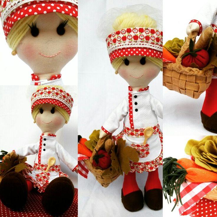 Chef cozinha feltro boneca