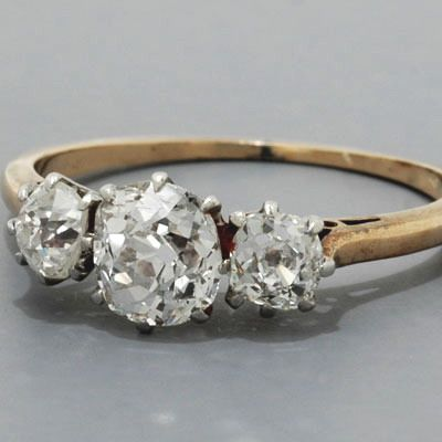 Antique Victorian Engagement Ring Old Mine-Cut Diamonds Three Stone Ring. Pretty, but in white gold!