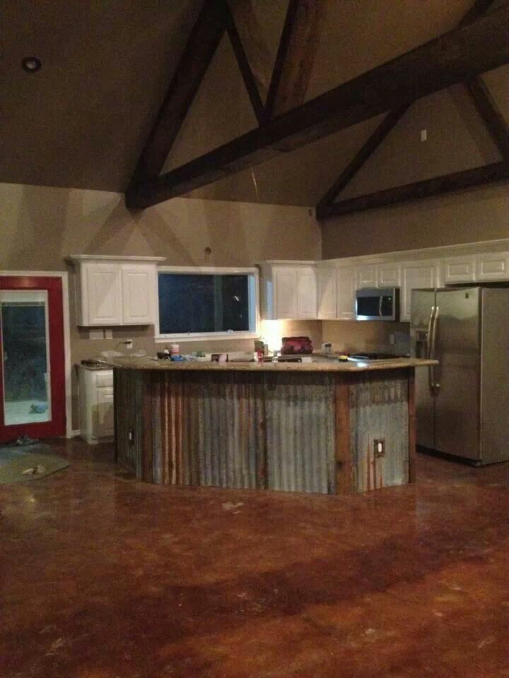 island with metal barn siding Like the kitchen & island layout not the  Metal or white cabinets. Could also make a really cool outdoor bar