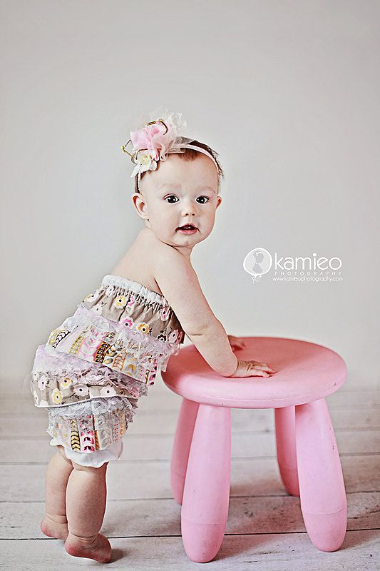Girls Brown Pink and Grey Floral Ruffle Romper by StitchToStitch, $35.00