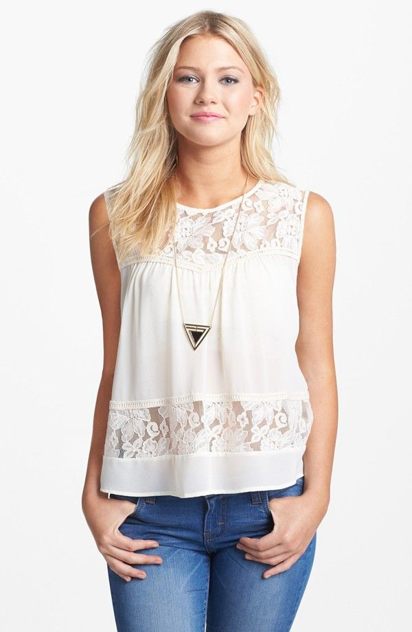 Free shipping and returns on Lush Lace Inset Button Back Top (Juniors) at Nordstrom.com. Floral lace at the yoke and waist lends romantic sheerness to a girly top with a flirty back keyhole.
