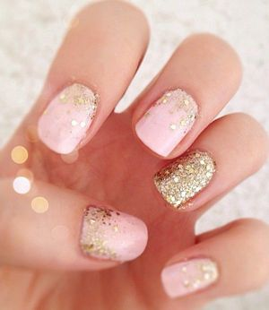pink and gold glittering wedding nails