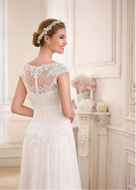 comprar vestidos de novia de tul y satén modesto escote palabra de