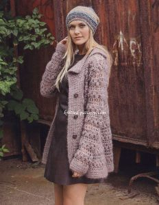 Crocheted jacket with lapel Free written pattern with chart