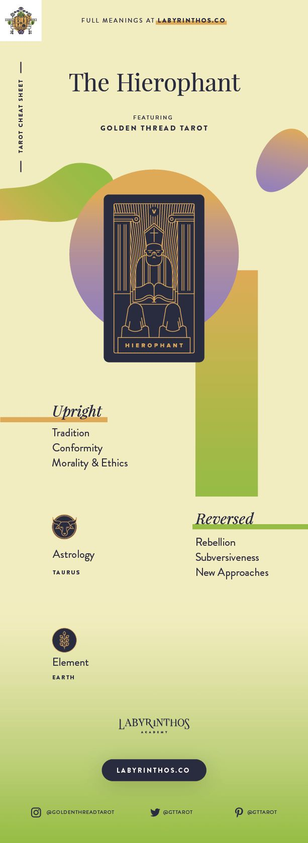 The Hierophant Meaning - Tarot Card Meanings Cheat Sheet. Art from Golden Thread Tarot.