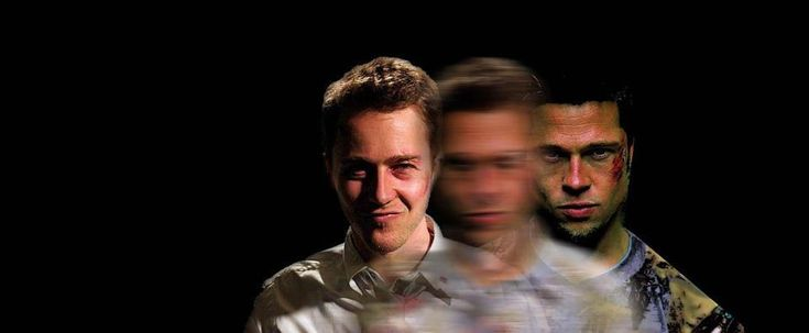 Creator: IMBd. Main Argument: This image depicts the dualism theme of Fight Club by morphing Tyler and the Narrator into the same character. Description: The idea that they both actually are the same person is confusing, so emphasizing the dualism concept with visuals helps convey this point.