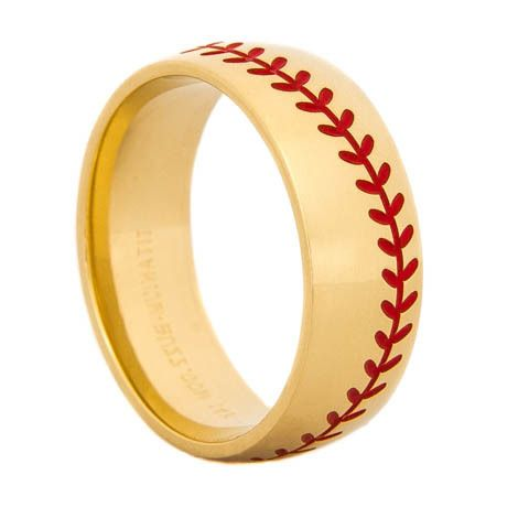 Men's Gold Baseball Wedding Band with Red Stitching