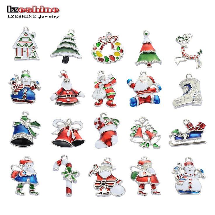 LZESHINE Kerst Groothandel veel 20PcsXSilver-tone Mix Unieke Enamel Kerst Charms Hangers EKmix1
