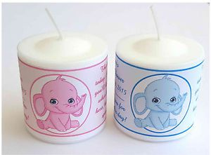 14 Pink Elephant or Blue Elephant Baby Shower Favors Votive Candle Labels | eBay