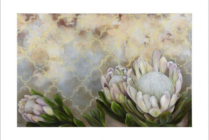 White Proteas Art Print  by Christelle P Art on hellopretty.co.za