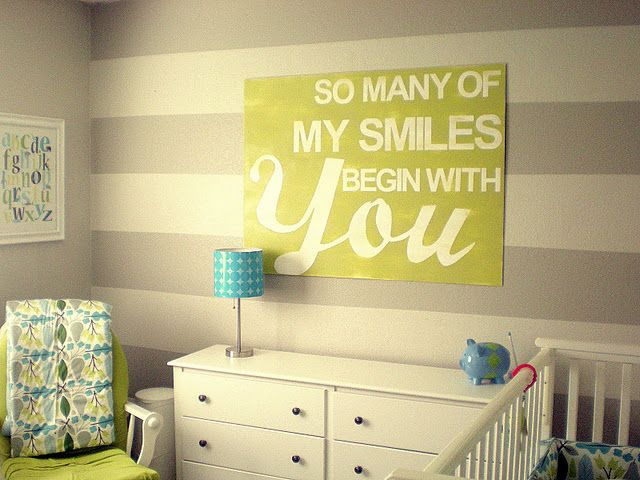 Such a cute nursery :): Child Room, Wall Art, Stripes Wall, Nurseries, Quote, Kids Room, Colors Schemes, Baby Room, Boys Room