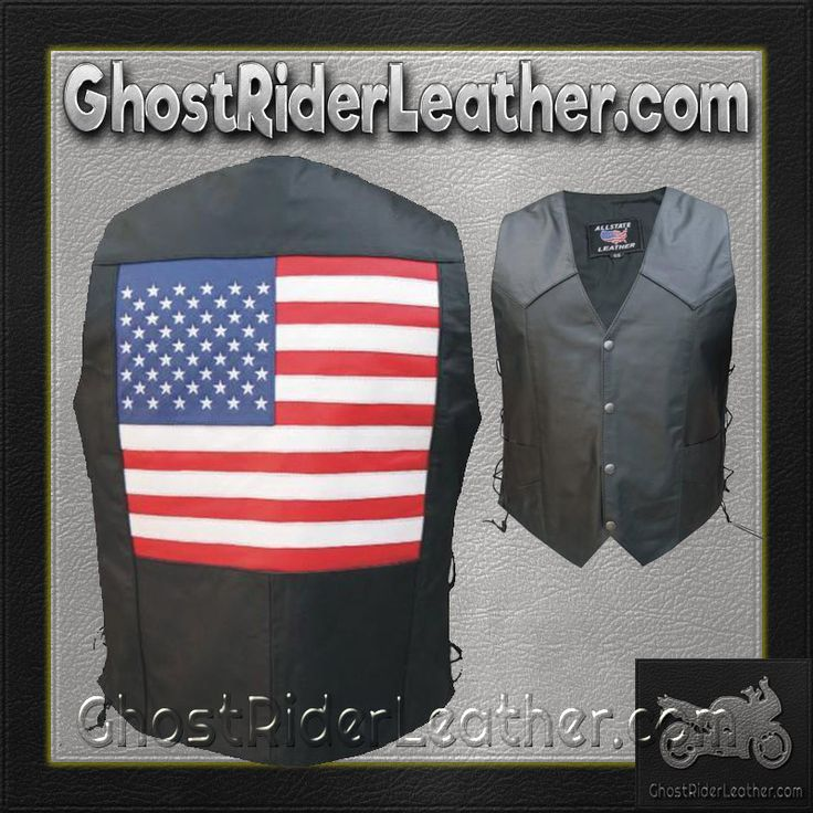 American Flag Leather Biker Vest with Side Laces / SKU GRL-AL2218-AL