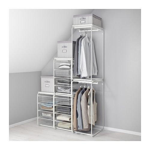 ALGOT Frame with rod and wire baskets, white